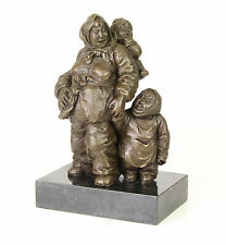 Bronze Skulptur Mutter mit Kindern Figurengruppe Bauern neu 99937967-dss