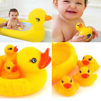 Domire Rubber Yellow Duck Family Baby Bath Set Toy - Floating Bath Tub Toy
