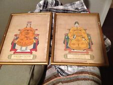 ANTIQUE ASIAN SILK PAINTING?PAIR -EMPEROR TANG TAIZONG AN WIFE MUST SEE AMAZING