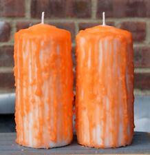 Halloween Orange Pillar Candle - Set of 2 Unscented Thanksgiving decoration