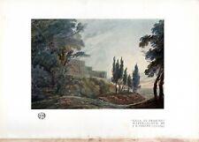 "Original 1922 Lithographic Print ""Villa At Frascati"" by JR Cozens"