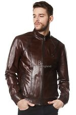 """Men's Real Leather Brown Jacket """"George Clooney"""" Biker Style Casual Napa 1802-T"""
