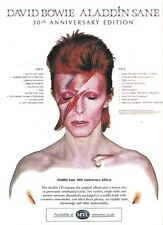 DAVID BOWIE Aladdin Sane 30th UK magazine ADVERT / Poster 11x8 inches