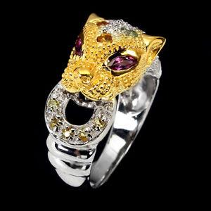 Round Sapphire Rhodolite Sapphire Diamond Cut 925 Sterling Silver Tiger Ring 7