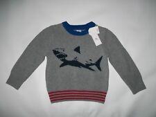Baby GAP Shark Logo GRAY Crewneck Knit SWEATER Youth Size 2 Years NEW