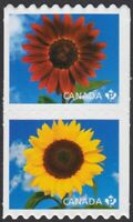 SUNFLOWER = qp DIE CUT to shape Coil se-tenant pair Canada 2011 #2442ii MNH-VF