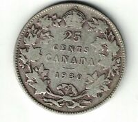 CANADA 1930 TWENTY FIVE CENTS QUARTER KING GEORGE V .800 SILVER COIN