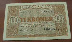 Denmark 1944 10 Kroner Note Circulated