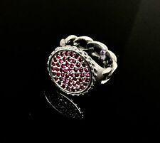 Men's Cuban Chain 14 K White Gold Designer Ring With Rubies By Sacred Angels