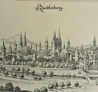 Quedlinburg am Harz - jüngere Grafik nach einem alten Merian-KupferStich v. 1647