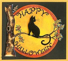 Happy HALLOWEEN Cat Moon Tree Wood Mounted Rubber Stamp NORTHWOODS M9813 New