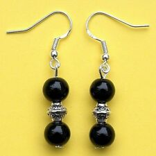 Black Agate Dangle Earrings 925 Sterling Silver Hooks Pierced Ears New LB401
