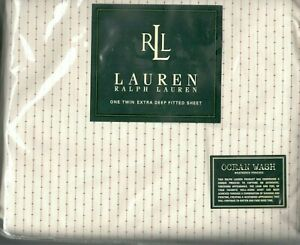 Ralph Lauren Heartland Calico Red Stripe Twin Fitted Sheet 18 Inches Deep New