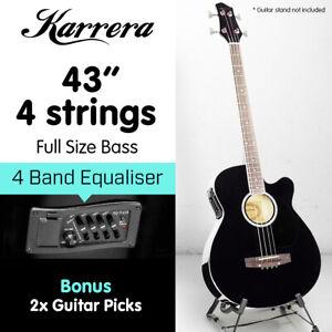 New 4 String Karrera Acoustic Bass Guitar Electric Pickup 4 Band Equalizer Black