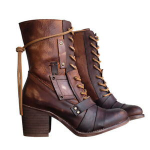Women Retro High Block Chunky Heel Boot Ladies Lace Up Mid Calf Boots Shoes Size