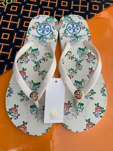 NWT Tory Burch PVC Flip Flop Flops Thong Sandals Ivory Floral Logo MANY SIZES