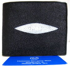 Genuine Real 1 Eye Stingray Skin Leather Man Bifold Shiny Black Wallet New