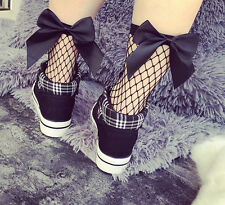 Girl  Women Ruffle Fishnet Ankle High Socks Mesh Lace Fish Net Short Socks