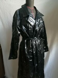 Lack-Mantel Vinyl Coat schwarz Black Level Kragen langer Arm S 36 38 M 40 42