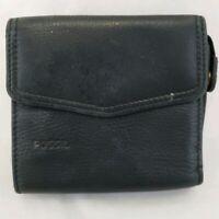 """Vintage Fossil Black Leather Bi-Fold Flap Wallet Women's ID Window Zip Coin 4x4"""""""