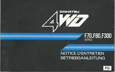 DAIHATSU 4WD F70 F80 F 300 Betriebsanleitung 1989 Notice D´Entretien Handbuch BA