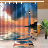 "180*180cm/71"" Waterproof Polyester Fabric Shower Curtain Bathroom Lighthouse"