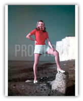 Diana Dors 1948 Blond UK Actress Stands On Large Rock Great Legs Rare Publicity