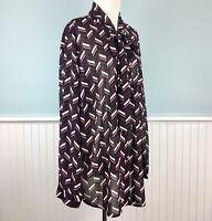Size 3X Michael Kors Bow Tie Neck Button Down Top Blouse Shirt Women's Plus NWT