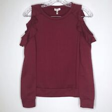 Juniors Ruffle Top Size Small Cold Shoulder Burgundy Long Sleeve by Self Esteem