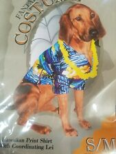 Doggiduds Moon Doggie Hawaiian Print Shirt w/ matching Lei costume Small/Medium