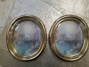 Vintage Home Interiors HOMECO small round oval gold brass Swan Lake picture chur