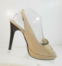 Stella McCartney Women Shoes Tan Sandals Slingback Peep Toe Linen Heels Sz 38.5