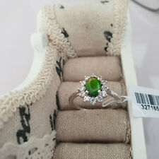 Stunning AA Canadian Ammolite & Zircon ring in Platinum over Sterling silver S