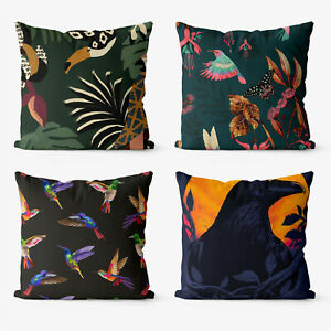 Animals Birds Fantasy 4 Pieces Two Sides Printed Cushion Pillow Case Cover