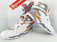 2007 AIR JORDAN 8 Retro White Stealth, Orange Blaze VIII 305381-102 - Size 11