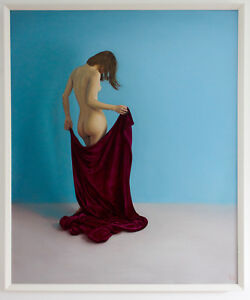 Original Framed Oil Painting Female Nude Girl with purple fabric artwork woman
