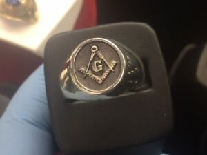 Masonic classic Sterling Silver 925 Men's Solid Ring Available size 6-14