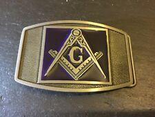 New MASONIC Square & Compass Blue Enamel Logo BELT BUCKLE Metal Freemason Mason