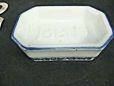 Antique vintage blue and white stoneware bathroom soap dish Heavy made Soap hold