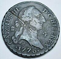 1776 Copper Spanish 4 Maravedis Genuine Old Antique 1700's US Colonial Era Coin