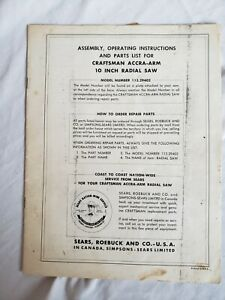 SEARS CRAFTSMAN ACCRA-ARM 10 INCH RADIAL SAW  VINTAGE OWNERS MANUAL  113.29402