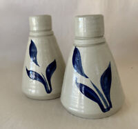 Signed Williamsburg Pottery Set of 2 Bud Vases / Inkwells Cobalt Blue Leaves