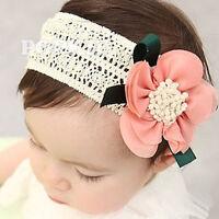 Cute Newborn Infant Baby Girls Lace Flower Headband Lovely Elastic Hair Band