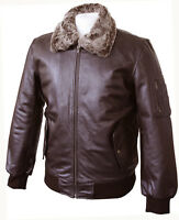 Mens Real Leather Brown Bomber Pilot Aviator Air Force Flight Jacket Fur Collar