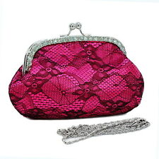 Rhinestone accented satin evening bag with lace overlay - hot pink