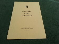 1954 1975 1976 ROLLS ROYCE TWO MEN CAME TOGETHER Silver Ghost Phantom 4 BROCHURE