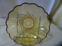 "Vintage 9"" Amber Glass Serving Bowl-Scalloped Edges-Swirl Pattern"