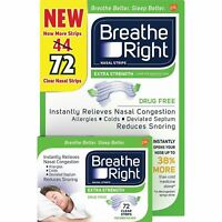 Breathe Right Nasal Strips, Extra Clear for Sensitive Skin 72 Clear Strips