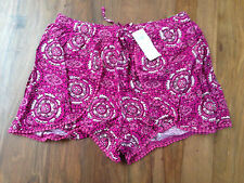 New Hollister Women Purple Geo Print Petal Edged Crochet Trim Drapey Shorts L