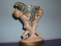 Vintage FONTANINI (Depose Italy) Polyvinyl TWO SMALL CHERUBS Holding an URN